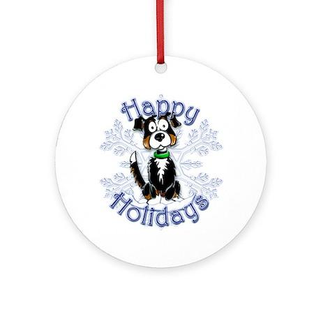 Tri-color Border Collie, Tug & Snowflake Ornament