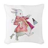 Alice wonderland rabbit Woven Pillows