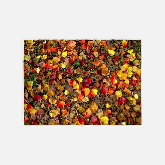 Fall Leaves Autumn Colors 5'x7'area Rug