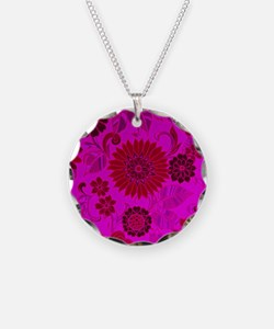 Bright Pink Retro Flowers Necklace