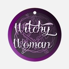 Witchy woman with pentacle Ornament (Round)