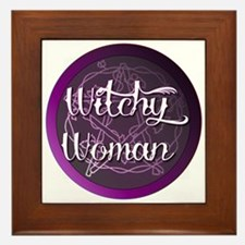 Witchy woman with pentacle Framed Tile