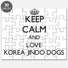 Keep calm and love Korea Jindo Dogs Puzzle