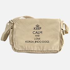 Keep calm and love Korea Jindo Dogs Messenger Bag