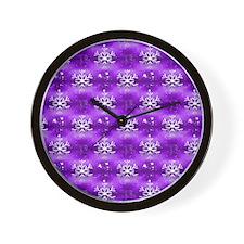 Christmas Snowflakes on Purple Wall Clock