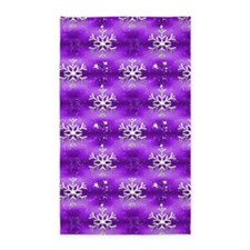 Christmas Snowflakes on Purple 3'x5' Area Rug