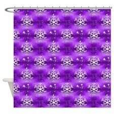 Christmas Snowflakes on Purple Shower Curtain