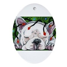 Frenchie Christmas Ornament (Oval)
