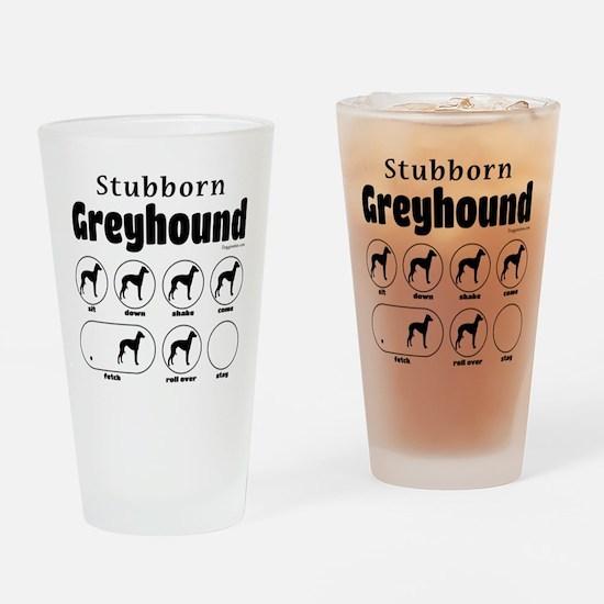 Stubborn Greyhound v2 Drinking Glass