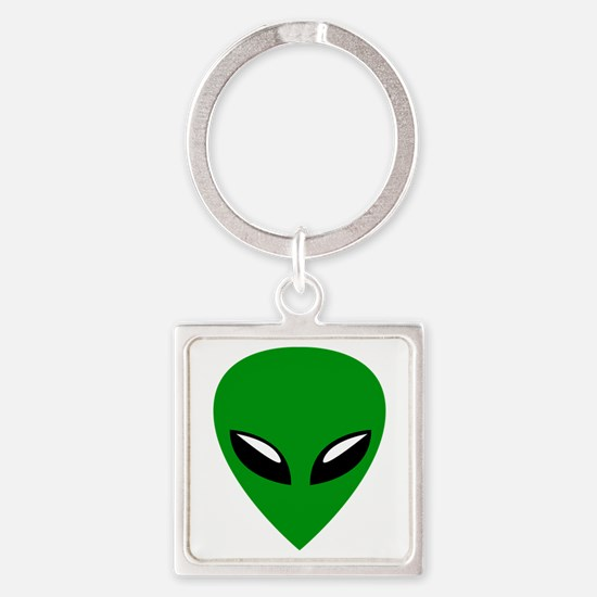 Grey Alien Roswell Square Keychain