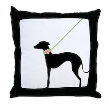 Black Dog w/ Flower Throw Pillow