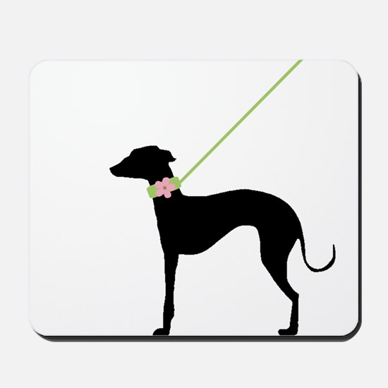Black Dog w/ Flower Mousepad