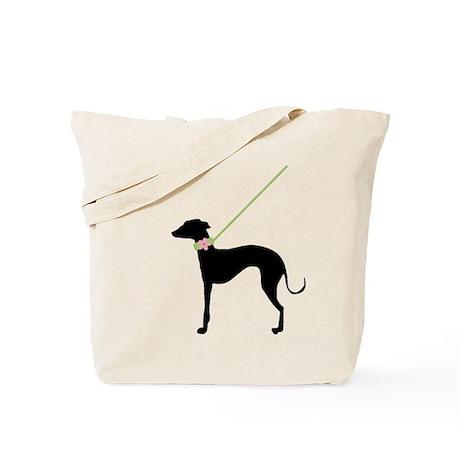 Black Dog w/ Flower Tote Bag