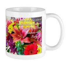 Thanksgiving Flowers and Bible Verse Small Mug