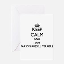 Keep calm and love Parson Russell T Greeting Cards