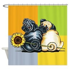 Sunny Pugs Shower Curtain