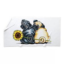 Sunny Pugs Beach Towel