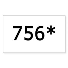 756 Asterisk Home Run Record Rectangle Decal