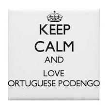 Keep calm and love Portuguese Podengo Tile Coaster