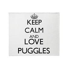 Keep calm and love Puggles Throw Blanket
