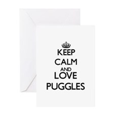 Keep calm and love Puggles Greeting Cards