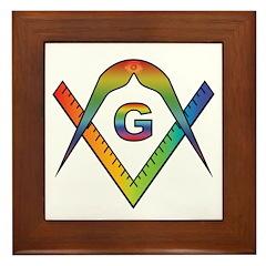Masonic Rainbow & Eye S&C BBQ Apron Framed Tile