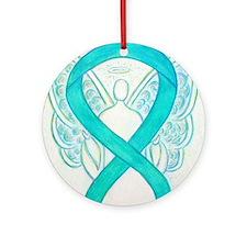 Teal Ribbon Angel Ornament (Round)