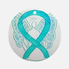Teal Ribbon Angel Ornament (Round)