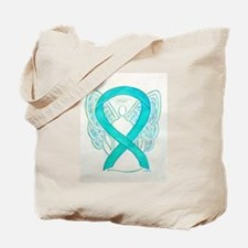 Teal Ribbon Angel Tote Bag