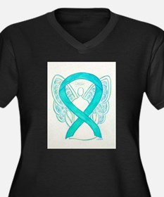 Teal Ribbon Angel Plus Size T-Shirt
