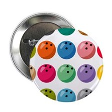 """Many Bowling Balls 2.25"""" Button (10 pack)"""