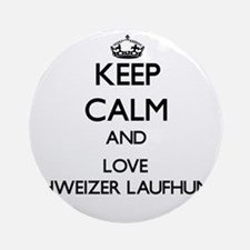 Keep calm and love Schweizer Lauf Ornament (Round)