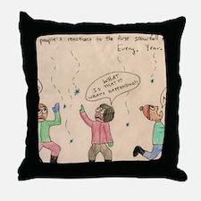 First Snowfall Panic Throw Pillow