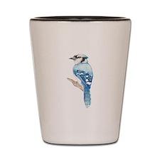 Watercolor Blue Jay Bird Nature Art Shot Glass