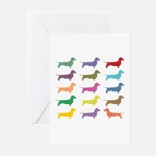 Colorful Dachshunds Greeting Cards