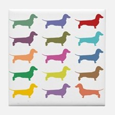 Colorful Dachshunds Tile Coaster