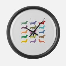Colorful Dachshunds Large Wall Clock