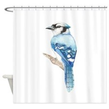 Watercolor Blue Jay Bird Nature Art Shower Curtain