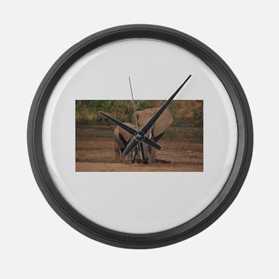 elephants Large Wall Clock