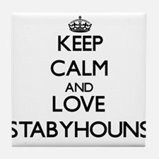 Keep calm and love Stabyhouns Tile Coaster