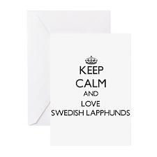 Keep calm and love Swedish Lapphund Greeting Cards