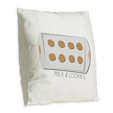 Milk & Cookies Burlap Throw Pillow