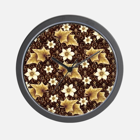 Antique Flowers and Leaves Wall Clock