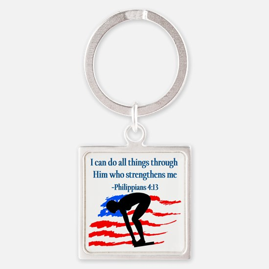 CHRISTIAN SWIMMER Square Keychain