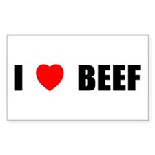 I Love Beef Rectangle Decal