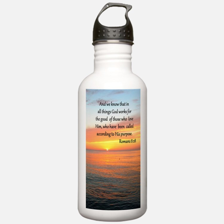 ROMANS 8:28 Sports Water Bottle