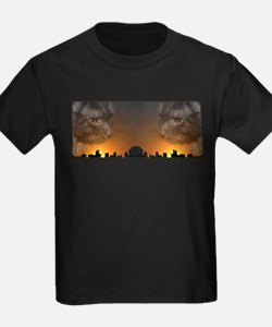 Maine Coon Cat over New York T-Shirt