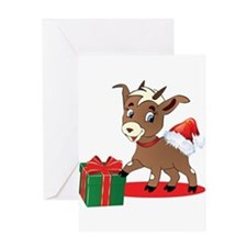 Little Goat Ready for Christmas Greeting Cards