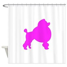 Pink Poodle Silhouette Shower Curtain
