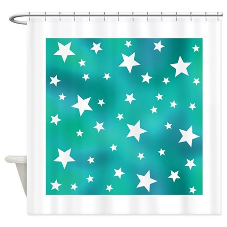 Turquoise Blue And White Stars Shower Curtain By HippyGiftShop